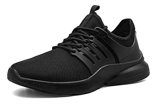 MUOU Herren Schuhe Laufschuhe Sneaker Rutschfeste Sommerschuhe Turnschuhe Straßenlaufschuhe Freizeitschuhe Männer Sportschuhe (42, Schwarz)