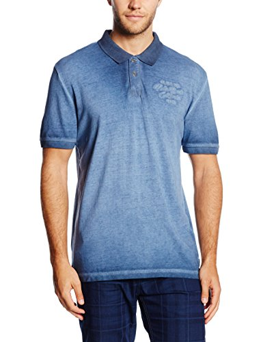 TOM TAILOR Herren Poloshirt Overdyed Polo With Chest Badge Blau (real navy blue 6593)