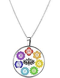 Collar 7 Chakras flor de loto colgante con cadena plateado