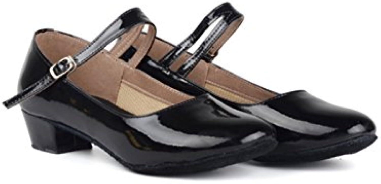 Ruanlei shoes Baile Latino GB, Negro, 34  -