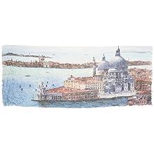 Foulard in cotone impreziosito da stampa fedele dell'acquerello Venezia - Veduta Chiesa Salute dell'artista Nicola Tenderini. Prodotto artigianale, Made in Italy