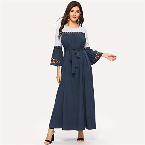 JJHR Kleider Navy Floral Flare Ärmel Spitze Applique Belted Maxi-Kleid Frauen Frühling Color-Block Rüschen Gerade Kleider, L