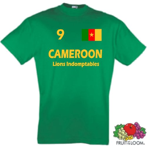 Fruit of the Loom Kamerun Herren T-Shirt Cameroon Die Löwen Trikot Fan Shirt|S