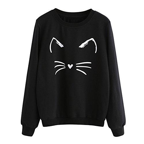 Mujer Gato Impresión Oso Oreja Sudadera Tops Blusa Jersey by Venmo (Negro, M -Busto:96cm/37.8')
