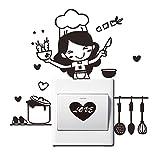 Vinilo decorativo pegatina pared,Logobeing Cocina luz interruptor pegatina lindo cocinero vinilo pared calcomanía casa decoración (Negro)