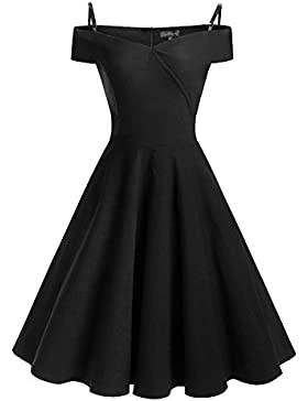 Mujer Vintage Vestido Años 50 Impresión Vestidos De Fiesta A-Line Retro Rockabilly Dress