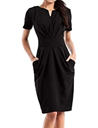3c4df7b306 Jacansi Women V Neck Pleated Work Business Bodycon Pencil Dress with Pockets  UK 8-16