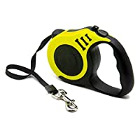 FISHSHOP Retractable Dog Lead, Smooth Extending and Retracting Dog Walking Leash with Flat Braided Nylon Ribbon Material for Small Medium Dogs,Extends up to 5m And Suitable Within 15kg (Yellow)
