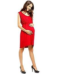 Damen 2in 1 Umstands Stillshirt Tunika Stillbluse Empire-Taille Top Umstandskleid Aermellose Sommerkleid fr Schwangere