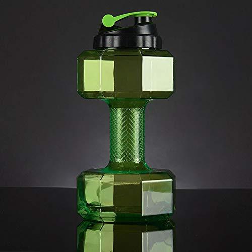OLT -Water bottle 2,2 Liter Kappe Große Kapazität Auslaufsicherer Kunststoff Halbe Gallone Sport Wasserflasche Hantel Training Trinkwasserkrug, BPA- Frei (Color : Green)