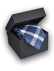 Corbata de cuadros Azul, 100% Lino (Caja de Lujo) - Oxford Collection -