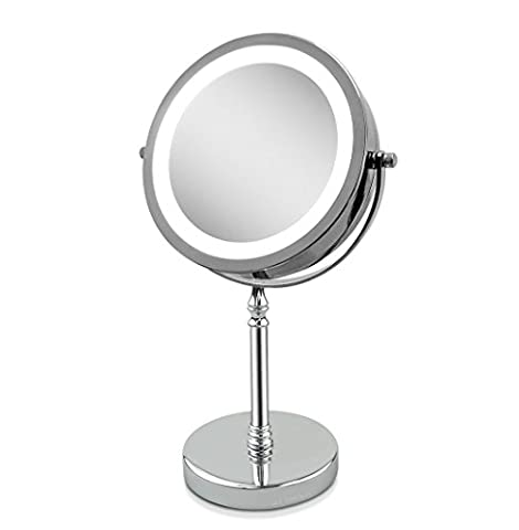 VergrößerungsSpiegel, Tabletop Spiegel 10x 7-inch LED MakeUp Spiegel- Doppelseitig, beleuchtet 1x oder 10x Vergrößerung (Doppelseitige Beleuchteter Make-up-spiegel)