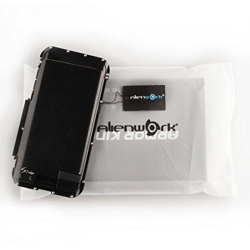 Alienwork Schutzhülle für Samsung Galaxy S7 edge Ständer Hülle Case Bumper Stoßfest Edelstahl silber SGS7E03-02 schwarz