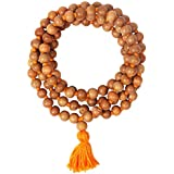 Real & Natural Chandan Sandal Wood Pure Kanthi Mala with 108+1 Beads of 8 mm/Holy Basil Rosary/Jaap Mala for Astrology Pooja Chanting or Wearing