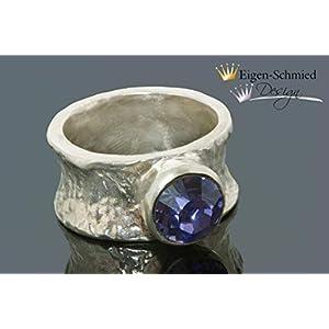"""Goldschmiede Silberring""""Glister"""", Ring Silber, Ring Swarovski, Goldschmiedearbeit, Weihnachten, Geschenk, massiv Silber, handgefertigt, Schmuck handmade"""