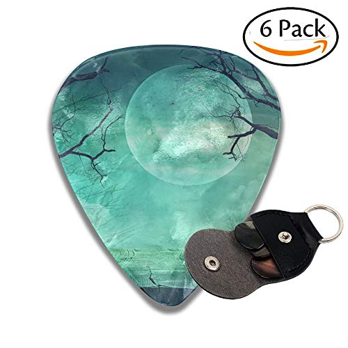 Halloween Background Spooky Forest With Full Moon And Wooden Table Stylish Celluloid Guitar Picks Plectrums For Guitar Bass 6 Pack.71mm (Forest Halloween Spooky)