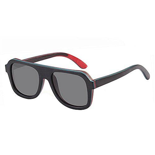 Bambus polarisierte Sonnenbrille Männer Frauen Holz Gläser für Wassersport und Outdoor-Aktivitäten (Color : Blue)