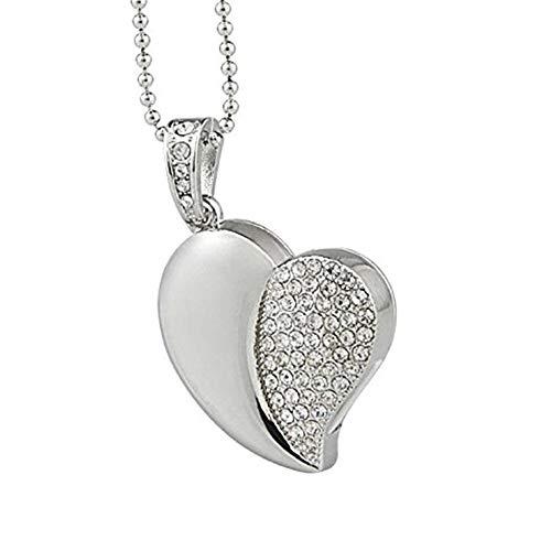 Naisicatar forma 16gb artificiale di cristallo asimmetrica cuore usb 2.0 flash drive, brillante, gioielli usb flash drive con la collana
