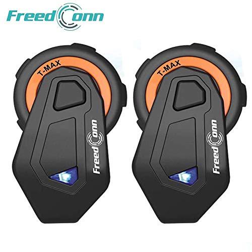Freeconn Motorrad Headsets, T-Max Helm Bluetooth Headset Voll Duplex Walkie Talkie für 6 Fahrer Gruppe Intercom mit Bluetooth v4.1(2er Set mit Weichem Kabel) (Wetter-radio Talkie Walkie)