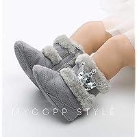 Yunnyp bebé niña Nieve cálida Botas de Invierno Corona bebé niñas pequeñas Invierno Suave Nieve cálida Botas Lentejuelas Corona Zapatos Antideslizantes