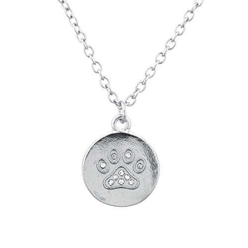 lux-accessories-silvertone-pave-paw-print-dog-lover-circle-disk-charm-necklace