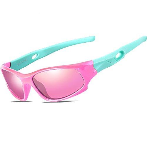 ATTCL Kinder Sonnenbrille TR90 Polarisierte Sportbrille für Jungen und Mädchen Alter 3-10 5025 yellow-blue