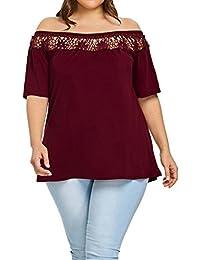 Yeamile Camiseta de Mujer Tops Suelto Blusa Causal Camisetas Ocasionales Blusa de