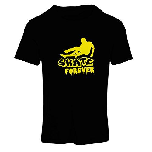 Frauen T-Shirt Skate für Immer Unisex T-Shirt (Large Schwarz Gelb)