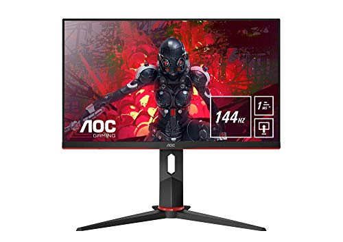 AOC Gaming 24G2U/BK 60 cm (23,8 Zoll) Monitor (FHD, HDMI, DisplayPort, Free-Sync, 1ms Reaktionszeit, 144 Hz, 1920x1080) schwarz/rot