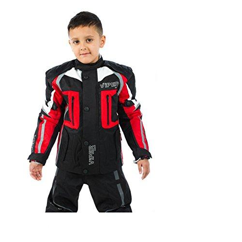 Motorradjacke für Kinder VIPER DRACO CE Rüstung Textiljacke Schwarz/Rot (6-7 Jahre)