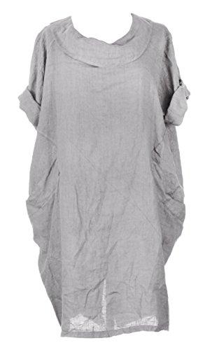 Mesdames Womens Lagenlook italienne manches courtes excentrique ronde collier 2 poche bouton arrière plaine lin robe Taille Plus Light Gris