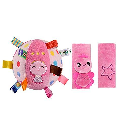 INCHANT Kinder Rosa Plüsch-Sicherheitsgurt-Abdeckung Schulter und rosa Engels Schlagwörter Soft-Ball Spielzeug-Bell-Ring Ball, 2 Stück