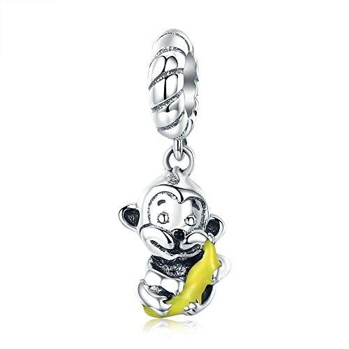 Reiko AFFE Banana 925 Sterling Silber Charms DIY baumeln Anhänger Perlen für Armbänder oder Halsketten, Halloween Mädchen Frauen, Geschenk-Boxen, Nickel-frei