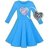 Mädchen Kleid Baumwolle Blau Einhorn Pailletten Lange Ärmel Beiläufig Gr. 110