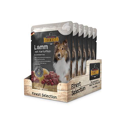Belcando Frischebeutel [6x300g] | Nassfutter für Hunde | Feuchtfutter Alleinfutter im Einzelportionsbeutel (Lamm mit Kartoffel & Cranberries, 300 g)