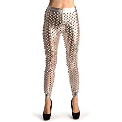 Silver 3D Cut Through Faux Leather Spikes - Leggings - Plateado Leggings Talla unica (34-38)