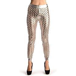 Silver 3D Cut Through Faux Leather Spikes - Leggings - Plateado Leggings Talla unica (34-38)