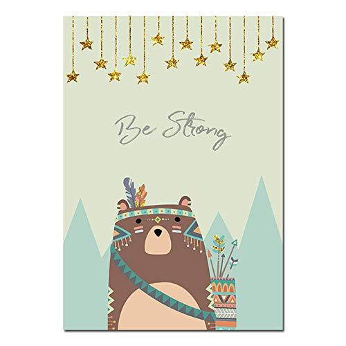 LiMengQi Tier Fuchs Anime Charakter Leinwand Bär Poster für Kinderzimmer Wand Kunstdruck Nordic Malerei Kinder Dekoration Foto Baby Kinder Schlafzimmer Dekor (kein Rahmen)