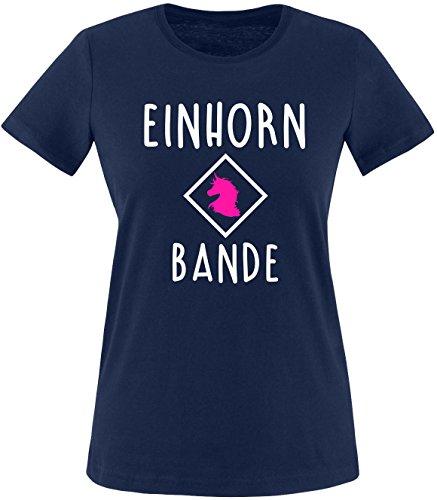 EZYshirt® Einhorn Bande Damen Rundhals T-Shirt Navy/Weiss/Pink