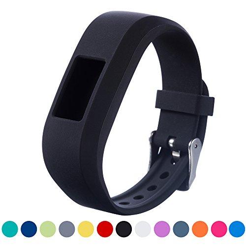Ifeeker, cinturino di ricambioGarmin Vivofit, in morbido silicone, con fibbia di metallo Motivatore e con attività Fitness Tracker Junior Kids Fitness., Black