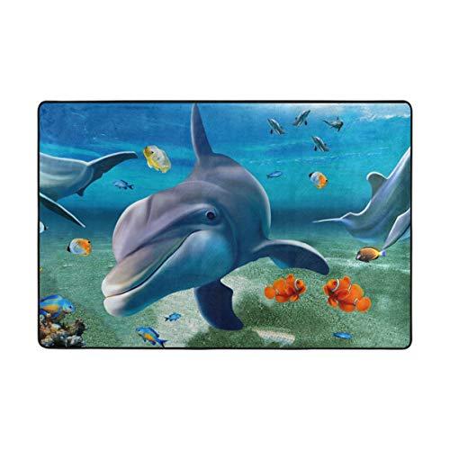 DEZIRO Fußmatte mit Delfin-Motiv, aus Polyester, lustig, Rutschfest, waschbar, Polyester, 1, 36 x 24 inch -