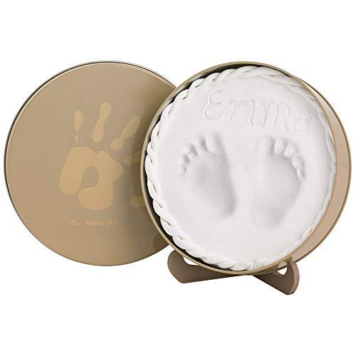 Baby Art Magic Box für 3D-Abdruck in dekorativer Metall-Geschenkbox, Hand oder Fußabdruck zum aufstellen, rund, beige