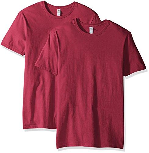 Fruit of the Loom Herren T-Shirt mit Rundhalsausschnitt, 2er Pack - Rot - 3X-Groß