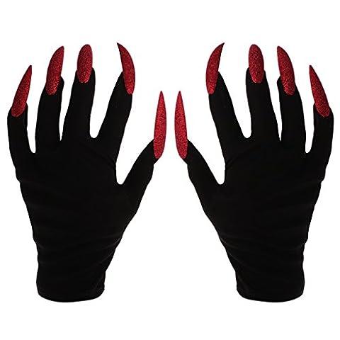 MagiDeal Furchtsame Frau Handschuhe mit langen roten Glitzer Fingernägel Halloween Fancy Kleid (Halloween Kostüme Arts And Crafts)