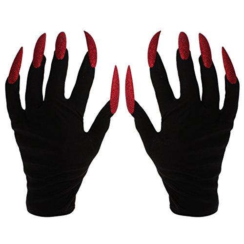 MagiDeal Furchtsame Frau Handschuhe mit langen roten Glitzer Fingernägel Halloween Fancy Kleid