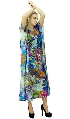 Phagun Femmes Designer en coton imprimé Maxi Kaftan Coverup Nuit Robe Caftan Multicolore