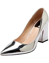 07b667a16b4ac5 Coolulu Damen Lack Chunky Heels Pumps mit Spitz Blockabsatz High Heels  Elegant Slip on Schuhe