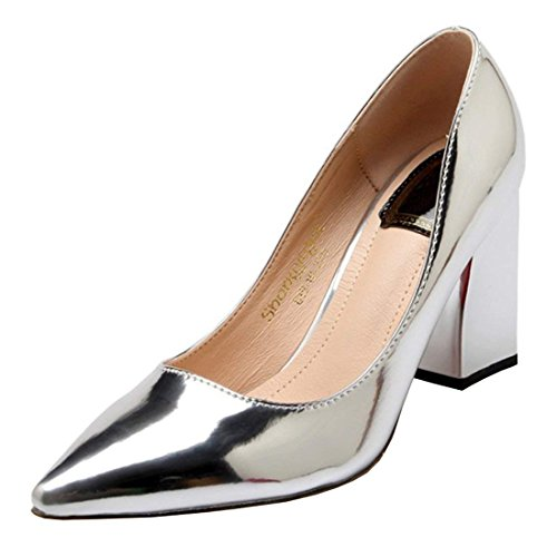 Coolulu Damen Lack Chunky Heels Pumps mit Spitz Blockabsatz High Heels Elegant Slip on Schuhe (Silber,39) Chunky Heel Pumps