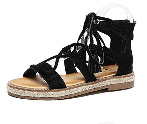 LDMB Damen Sommerfuß Riemen Peep Toe Low-Flat Sandalen Black