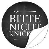 48 moderne Design Etiketten, rund/Bitte nicht knicken Design 2 TAFEL LOOK SCHWARZ/Aufkleber/Sticker/Post/Versand/Brief/Vorsicht